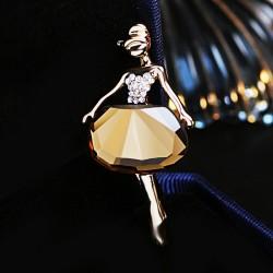 EVA颐娲 高端服装配饰品牌 优雅气质水晶芭蕾跳舞女孩胸针别针 6780-63