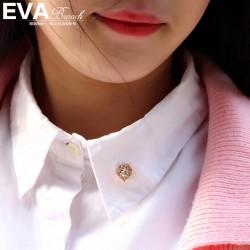 EVA颐娲 高端服装配饰品牌 韩版可爱小爱心锆石领针刺马针衬衫 6805-45