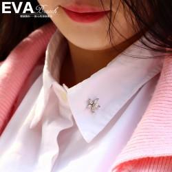 EVA颐娲 高端服装配饰品牌 精致五叶花锆石领针衬衫小领扣刺马针 6806-43