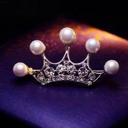 EVA颐娲 高端服装配饰品牌 韩国时尚珍珠水晶皇冠胸针胸花别针开衫  6730-60