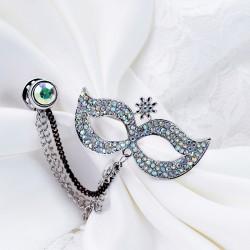 EVA颐娲 高端服装配饰品牌 时尚优雅水晶舞会面具胸针别针披肩扣 男女 6832-63