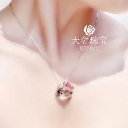 天奢TIANSHE Hello Kitty 奥地利水晶猫头蝴蝶结公主范项链 TS012
