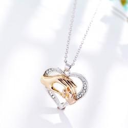 安东尼品牌外贸首饰 时尚欧美大手拉小手镂空心形吊坠项链 母亲节礼物 A181-40