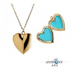 安东尼品牌外贸首饰 时尚简约小清新画油彩色心形相盒项链 可放照片 A299