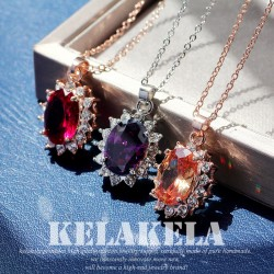 KELAKELA品牌首饰 夏季欧美风精致高档椭圆锆石水晶吊坠锁骨项链 女 K319-78