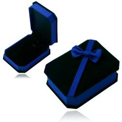 绒布盒饰品高档礼盒 蝴蝶结 深蓝礼品盒 项链盒 首饰盒 6047-25