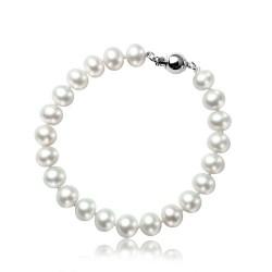 西凉妃子品牌首饰 纯天然无暇馒头圆8.5-9.0mm淡水珍珠手链 白色X017-1060