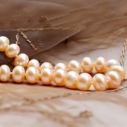 西凉妃子品牌首饰 专柜经典正品 9-9.5mm极强光 天然淡水珍珠项链 粉色浪漫礼物X012-2000