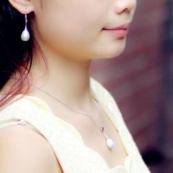 泊心云 品牌首饰 高档贝珠水滴珍珠吊坠锁骨链项链 耳环 套装 女 X117-90