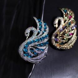 西凉妃子首饰 高档锆石水晶天鹅湖胸针别针 高雅气质服装配饰品 女 X430