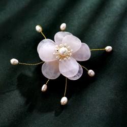 西凉妃子高档天然玉石 淡水珍珠手工胸针 民族风花朵胸花别针 女 X400-246