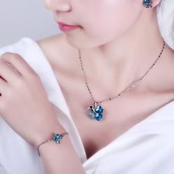 义乌高档饰品定做 奥地利水晶项链 甜美四叶草吊坠批发 银色款 9554-40