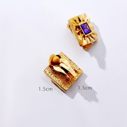 KELAKELA品牌首饰 高档大气方形紫色水晶无洞耳夹耳饰 个性百搭配饰 女 K321-34