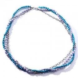 泊心云  圆珠绿松石椭圆天然淡水珍珠链条组合项链手链款式 时尚气质女 X672-212