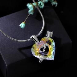 天奢TIANSHE 施家正品韩国时尚水晶项链丘比特之恋心形项链一箭穿心吊坠2014019