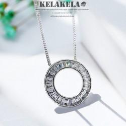 KELAKELA品牌首饰 高档锆石水晶简约圆圈吊项链锁骨链 送女友礼物 K322-107