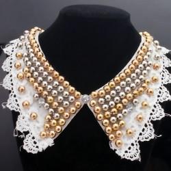 欧美时尚宫廷款串珠假领子 个性复古蕾丝花边布艺服装披肩配饰品 5203-34