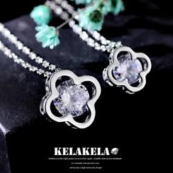 灵心造 铜镶锆石品牌 日韩首饰 镂空吊坠 水晶项链锁骨链 女 饰品 K326