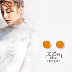 S925纯银耳针 时尚气质天然石流行女士耳钉耳环 韩国饰品 Q196