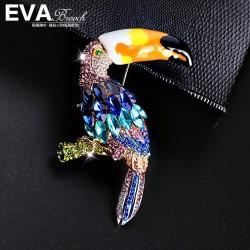 EVA颐娲 高端服装配饰品牌 欧美风大气彩绘水晶大嘴鹦鹉胸针别针 6749-239