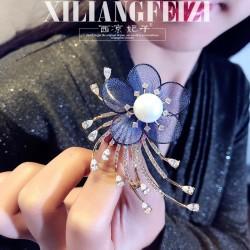 西凉妃子 高档个性蕾丝网状花瓣铜淡水珍珠胸针 名媛宴会礼服胸花 X836