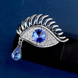 天奢珠宝 欧美个性眼睛睫毛施家正品水晶胸针 镶钻胸花 大衣别针 T011-130