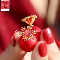 S925银针 韩版流行耳饰锆石珍珠雪花红球双面耳钉耳环 女新年礼物Q198-80