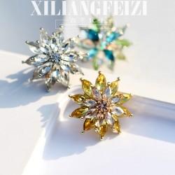 亚马逊热卖 欧美高档雪花奥地利水晶胸花圣诞胸针 百搭衣饰 X822