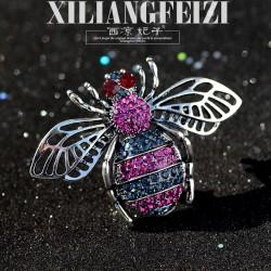 西凉妃子 欧美冬季新款高档个性蜜蜂胸针别针胸花 时尚外套开衫女 X912-118