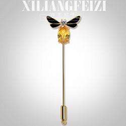 西凉妃子 创意别针 蜜蜂一字胸针 高档铜锆石衣饰扣针X958-88