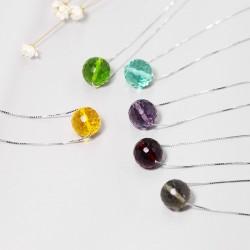 千族银品牌首饰 ins纯银水晶项链 水珠圆形吊坠锁骨链 Q207-178