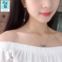千族银珠宝品牌首饰 时尚气质S925纯银松石项链锁骨链耳线耳环配饰 Q212-130