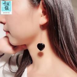 千族银品牌首饰 S925纯银气质爱心耳线长款黑玛瑙桃心耳环 Q225-170