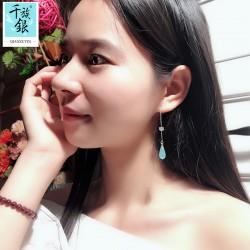 千族银珠宝品牌首饰 S925纯银耳线长款耳环小清新文艺水滴耳坠超仙气少女 Q210-170