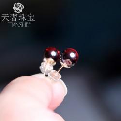 天奢TIANSHE 天然红玛瑙气质日韩国个性简约耳饰耳环 T018-68