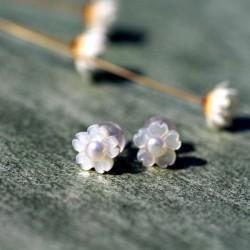 千族银品牌首饰 天然珍珠贝壳花瓣S925银耳针不过敏小清新耳环 Q219-90