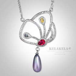 KELAKELA 气质微镶锆石新款项链 欧美时尚彩锆珍珠吊坠 K331-98