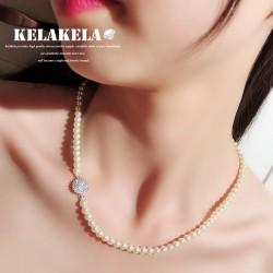 KELAKELA 奢华贝珠项链 微镶锆石配件时尚个性礼物送妈妈 K335-62