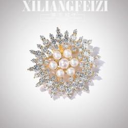 西凉妃子 奢华大气太阳花淡水珍珠水晶胸针 别针 气质白领外套胸花 X1071-260