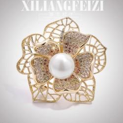 西凉妃子 奢华大气立体花朵珍珠胸针 优雅百搭胸花别针 X1130-238