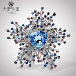 天奢珠宝 欧美时尚施家正品流苏胸针 新款水晶百搭胸花徽章饰品 T023-230