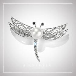 千族银 韩版百搭简约S925纯银珍珠胸针 开衫扣蜻蜓别针外套胸花 Q250-760