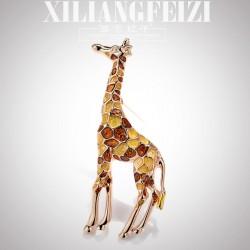 西凉妃子 创意个性气质X滴油长颈鹿胸针彩色动物别针 开衫披肩扣 X1165-75