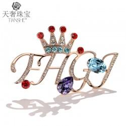 可爱简约字母皇冠胸针 施家正品奥地利水晶音符胸花别针 T026-230