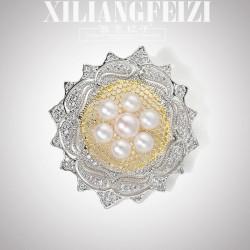 西凉妃子 铜微镶锆石天然淡水珍珠胸针 复古宫廷气质风胸花 X1174-270