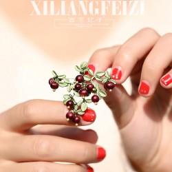 西凉妃子 森系vintage小红石榴蔓越莓胸针 天然异型珍珠别针 X1171-240