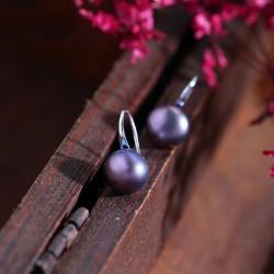 泊心云  奢华气质天然淡水珍珠耳环 时尚百搭S925纯银防过敏耳钩 X1111-96