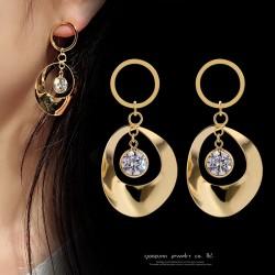 罗马圆形S925纯银耳针耳钉 气质耳饰铜微镶锆石百搭耳坠 Q279-68