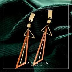 欧美流行时尚长款几何三角形耳钉夸张气质S925纯银耳针防过敏 Q296-68
