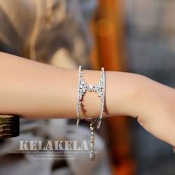 灵心造 铜镶锆石品牌 欧美时尚百搭字母H手镯开口可调节 婚纱晚礼服手镯 K342-186